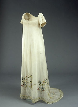 Tambour-embroidered ecru cotton gauze wedding dress, 1817. Worn by Anne Marie Velshous when she married Johan Christian Kerrn, a carpenter and fire general, in 1817.