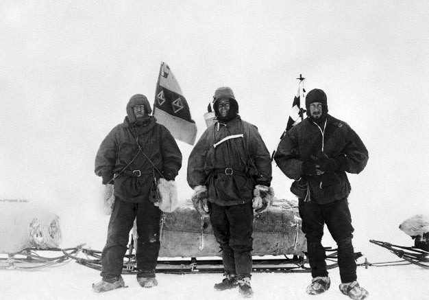 Ernest Shackleton, Scott, and Edward Wilson before their march to the South Pole during the Discovery Expedition, 2 Nov 1902.