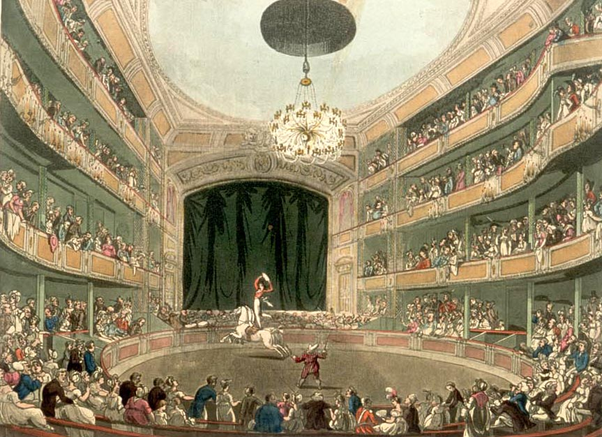 Astley's Amphitheatre in London circa 1808. From the Microcosm of London.