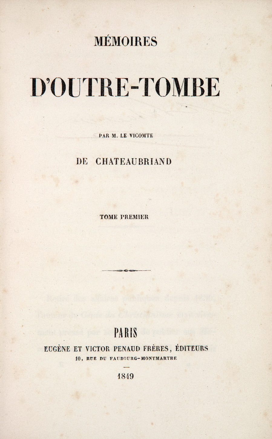 The title page for an 1849 edition of  Mémoires d'outre-tombe.