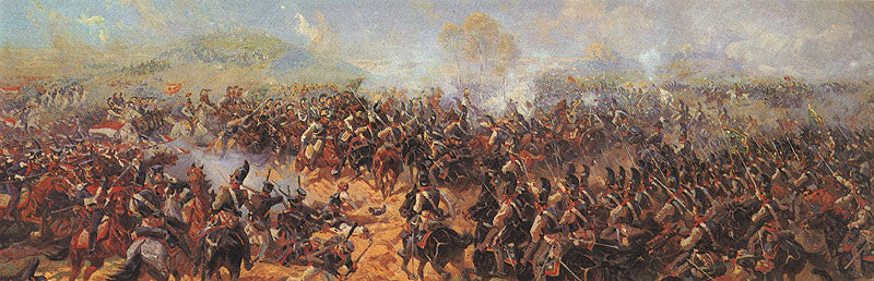 Famous battles, like this painting of the 1812 battle of Borodino by Raevsky, were a popular theme for panoramic display. There is currently an immersive panoramic exhibit on display at Waterloo, in Belgium.