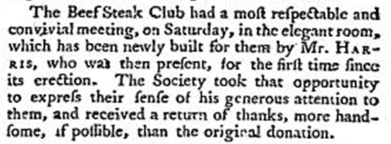 "1793 press report – ""Club"" and ""Society"" are used interchangeably."
