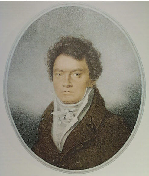 Beethoven in 1814. Portrait by Louis-René Létronne.