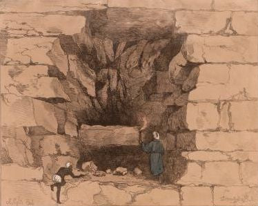 The forced entrance to Chephren's (Khafra's) Pyramid Engraving after a drawing by Giovanni Belzoni, 1820.