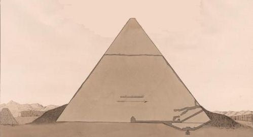 The original and forced passages in Chephren's Pyramid Engraving by Charles Hullmandel after a drawing by Giovanni Belzoni, 1820.