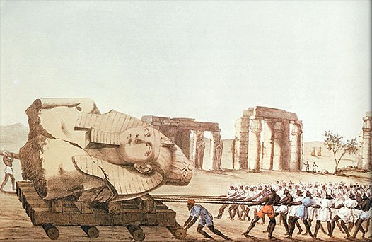 The Younger Memnon being hauled from Thebes.