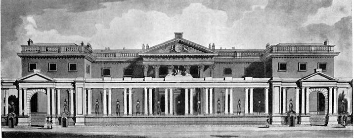 An early 19th century sketch of the entrance front of Carlton House in London.