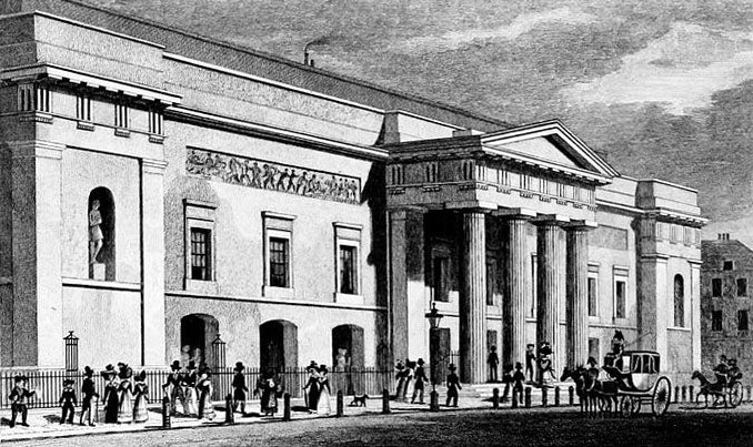 The rebuilt Covent Garden Theatre (later renamed the Royal Opera House) in 1828; Grimaldi started a long collaboration with the theatre in 1806.