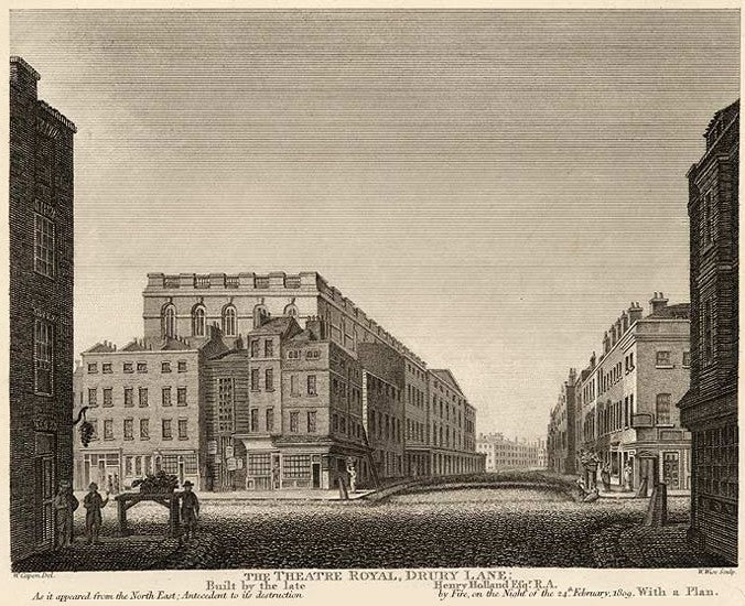 The Theatre Royal, Drury Lane, pictured as it was in 1809 (from an 1811 engraving). The view is from the north-east, looking down Russell Street at its intersection with Drury Lane. This shows the rear of the theatre with its dressing rooms and stage door.