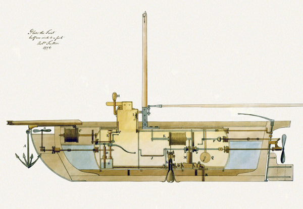 A cross-section of Fulton's 1806 submarine design.
