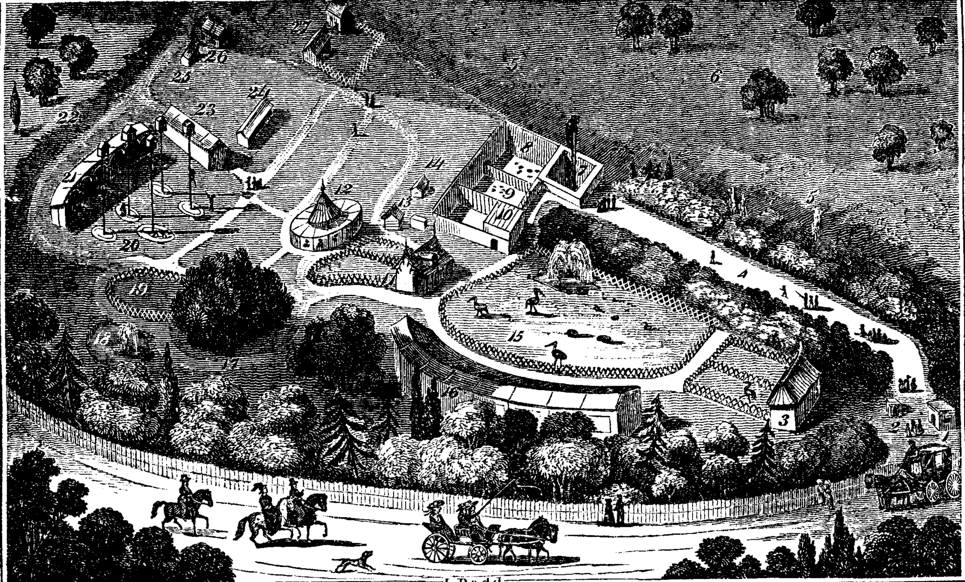 Bird's eye view of the Gardens of the Zoological Society, circa 1828.