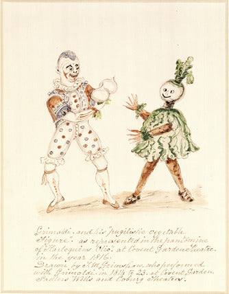 "Grimaldi as Clown opposite an actor playing a ""pugilistic vegetable"" at the Covent Garden Theatre, 1816."