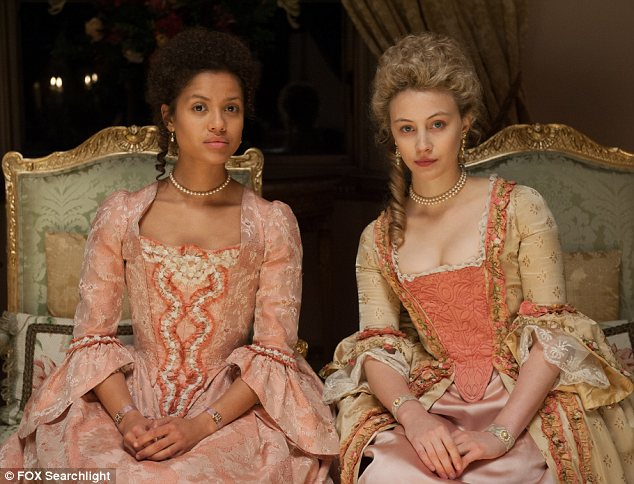 Gugu Mbatha-Raw, left, and Sarah Gadon, who star as Dido Elizabeth Belle and Lady Elizabeth Murray in Belle.