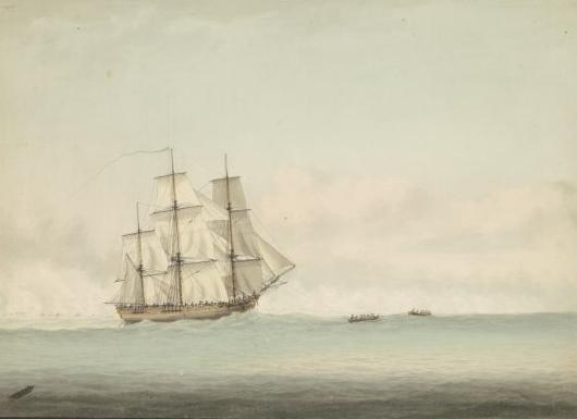 HMS Endeavour off the coast of New Holland, by Samuel Atkins c. 1794.