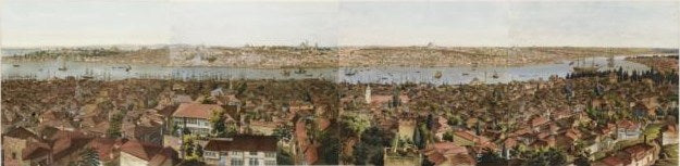 H. A. Barker's Panorama of Constantinople (1813, aquatint)