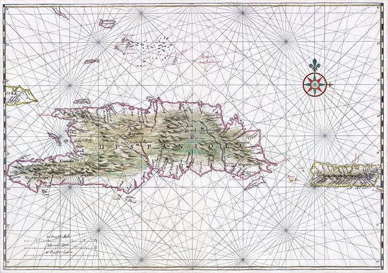 A 1639 map of the West Indies, featuring Hispanola.