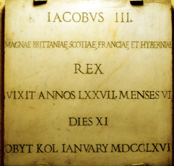 On the chapel walls of the Pontifical Scots College are mounted the original tombstones for James III, Charles III, and Henry IX.  Their remains, as well as those of Queen Clementina, lie in St. Peter's Basilica in Vatican City.