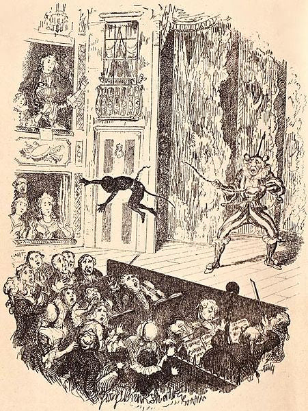 Joe's debut into the pit at Sadler's Wells, illustration by George Cruikshank for Dickens's memoirs of Grimaldi.