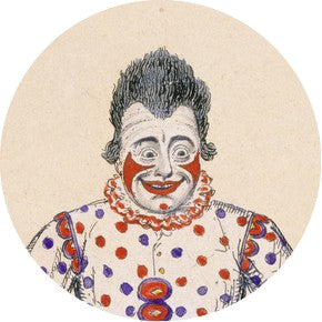 Grimaldi as Clown, showing his own make-up design.