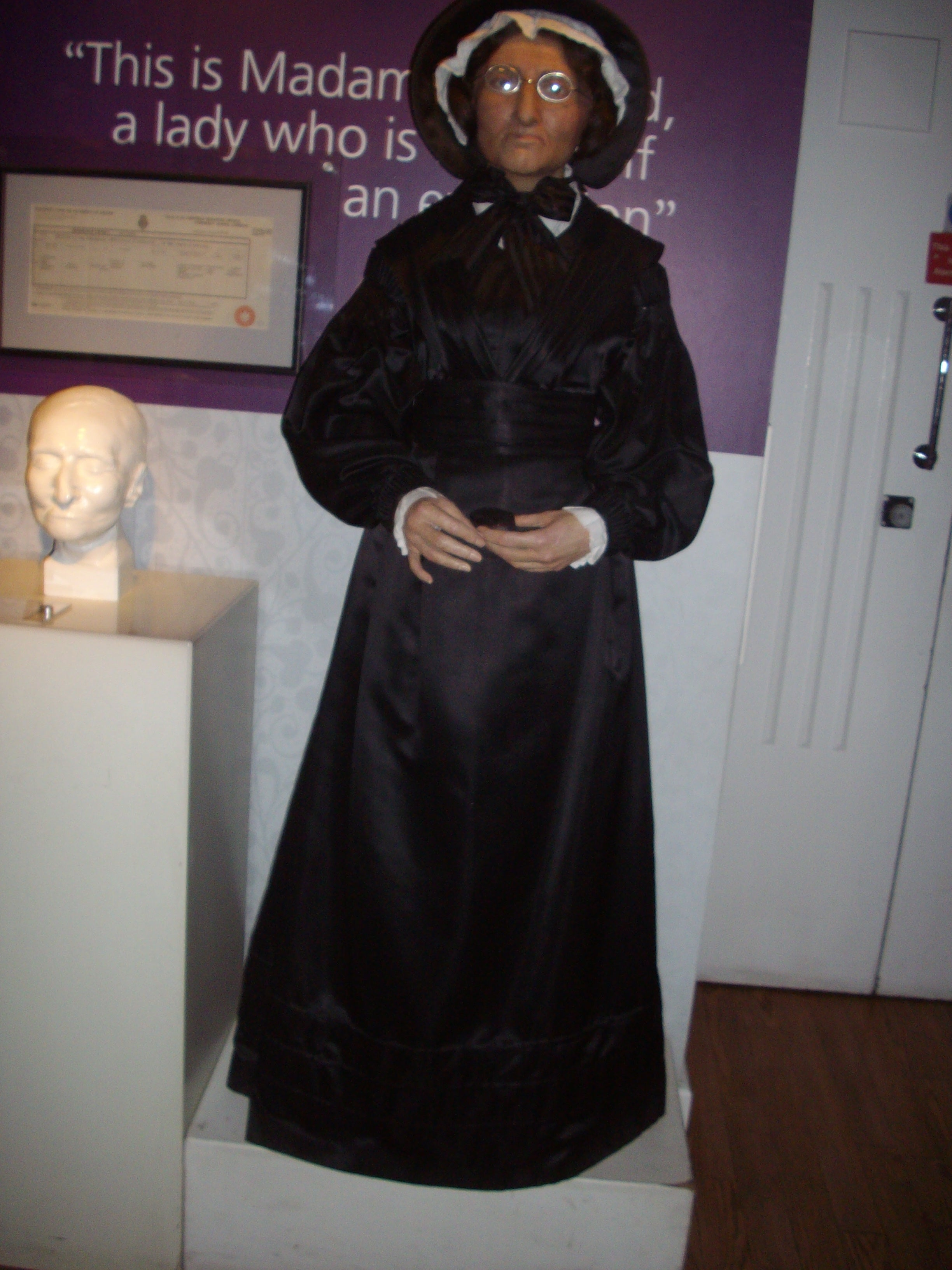 Madame Tussaud, herself, greets visitors at her epoymous museum.