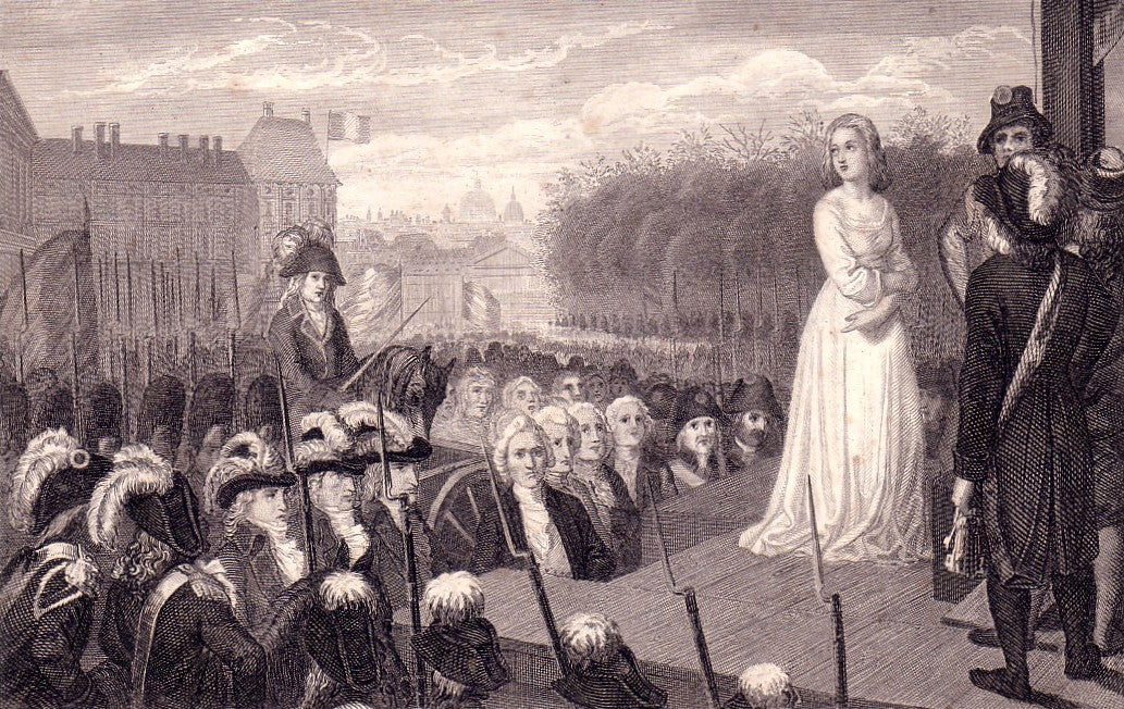 Marie Antoinette before her public execution by guillotine in 1793.