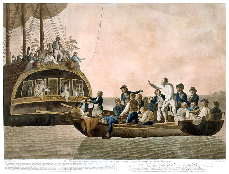 The mutineers turning Lt Bligh and some of the officers and crew adrift from His Majesty's Ship Bounty. By Robert Dodd