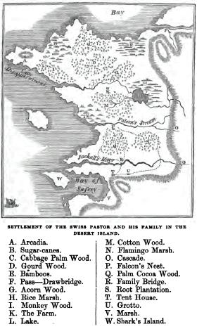 "A map of ""New Switzerland"" from an English language edition of the novel."