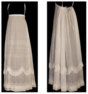 A highly decorative Regency petticoat, complete with shoulder straps to help it stay in place.