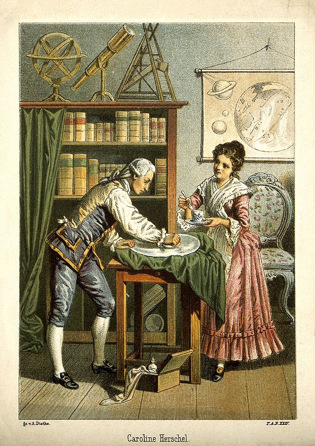 William and Caroline Herschel polishing a telescope lens, 1896 Lithograph.