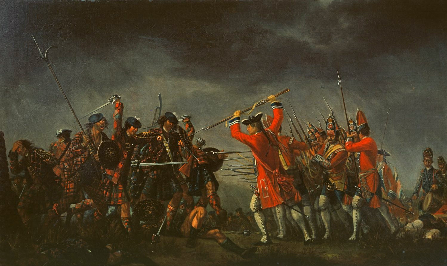 """David Morier's painting Culloden shows the highlanders still wearing the plaids which they normally set aside before battle, where they would fire a volley then run full tilt at the enemy with broadsword and targe in the """"Highland charge"""" wearing only their shirts."""