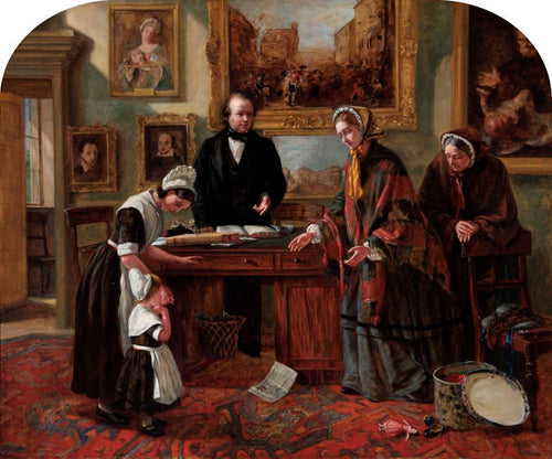 he Foundling Restored to its Mother (1858) by Emma Brownlow, depicting her father John Brownlow (behind desk)