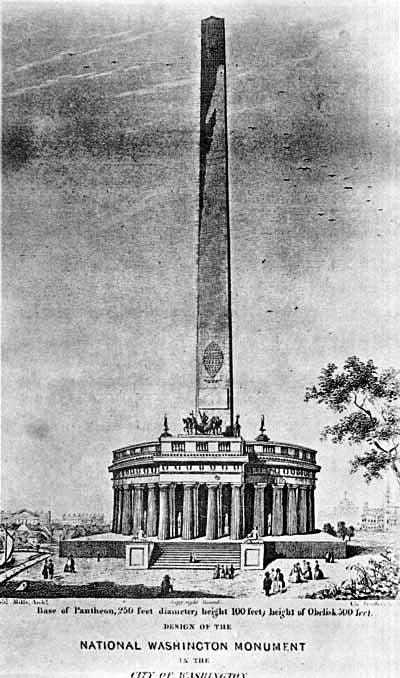 Sketch of the proposed Washington Monument by architect Robert Mills (circa 1836)