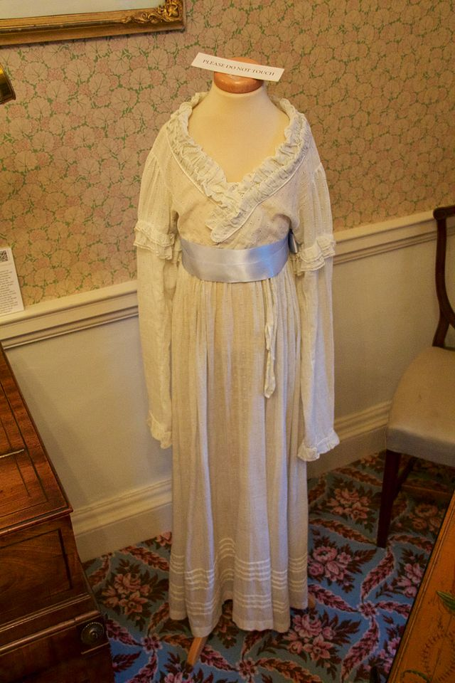 Caroline's dress on display at the William Herschel museum, Bath.