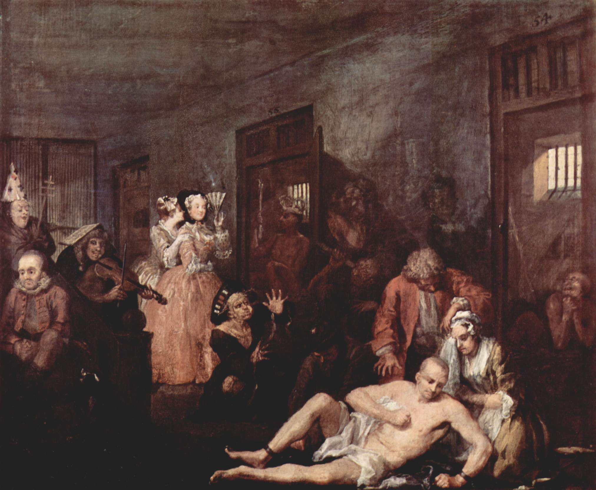 Eighteenth century Bethlem was most notably portrayed in a scene from William Hogarth's A Rake's Progress (1735), the story of a rich merchant's son, Tom Rakewell whose immoral living causes him to end up in Bethlem.