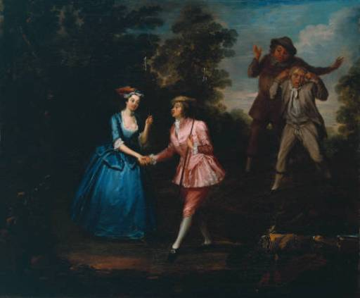 Charlotte Charke, in pink, plays Damon as a breeches role in her father Colley Cibber's pastoral farce Damon and Phillida.