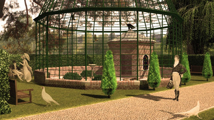 An 'augmented reality' shot depicting the possible design of Lord Ongley's Aviary – now available on the Swiss Garden's new (and free) Smartphone app.