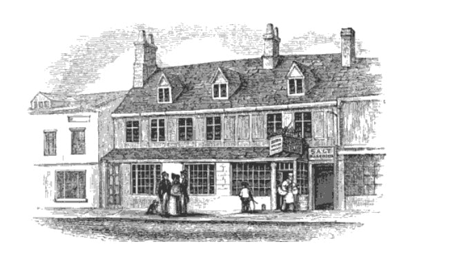 "A drawing of the original bake shop from ""A History of Banbury""."