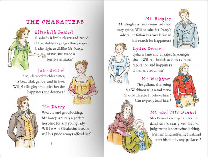 The Cast of Characters from Real Reads Pride and Prejudice.