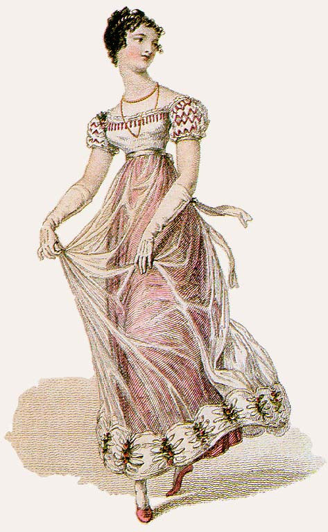 1823 Evening dress with gauze overlay