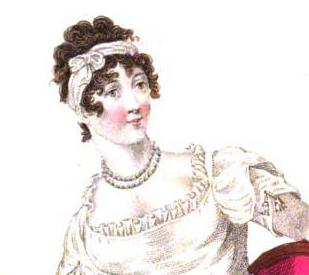 1812 La Belle Assemblee, evening dress and bandeau, which frames the curls beautifully.