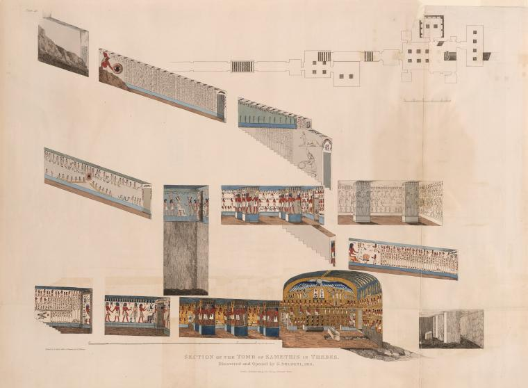 A drawing of the tomb's interior, attributed to Balzoni.