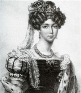 Crown Princess Josefia of Sweden in Swedish court dress, wearing a jewelled bandeaux. The bandeaux in this set also separated into two bracelets and a brooch. How clever!