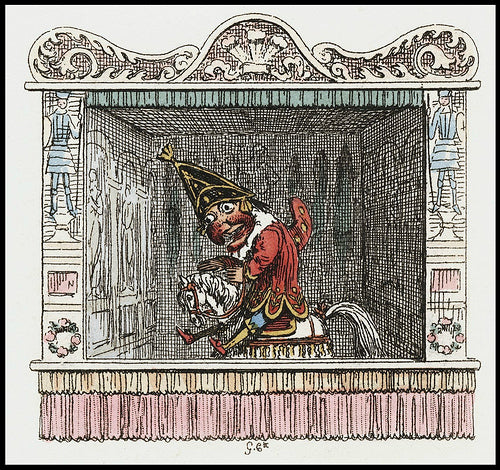 From the Punch and Judy script, illustrated by  George Cruikshank, 1828.