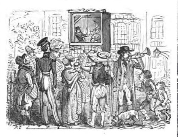 A Victorian audience watches the Punch and Judy show, from an 1870 edition of the script.