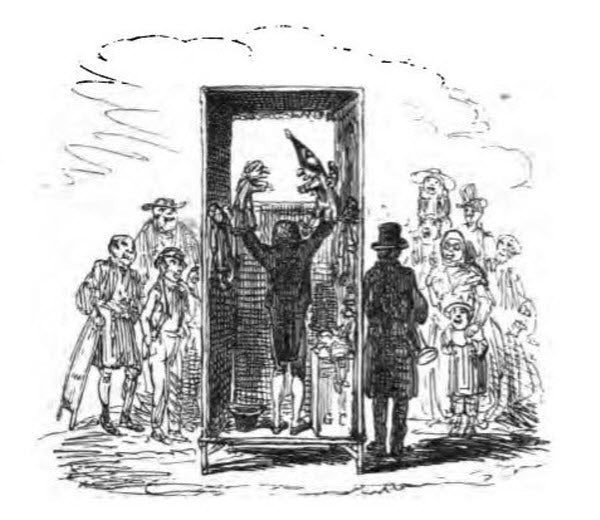 Behind the scenes at a Punch and Judy show. From and 1870 edition of the script.