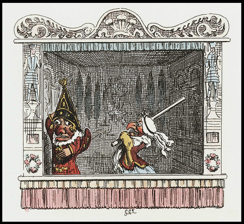 From the Punch and Judy script, illustrated by  George Cruikshank, 1827.