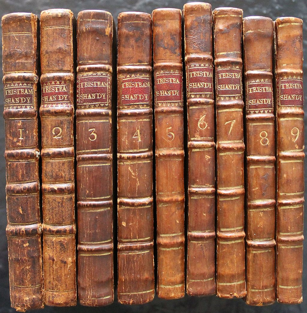 Tristram Shandy First edition spines by The Laurence Sterne Trust - This file was donated by the Laurence Sterne Trust as part of the Yorkshire Network GLAMwiki. The Trust runs Shandy Hall, Sterne's home in Coxwold, Yorkshire