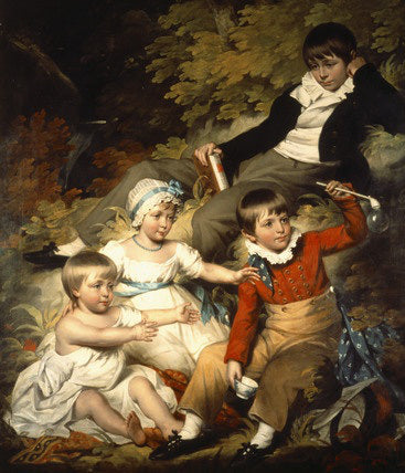 THE CHILDREN OF RICHARD CROFT, 6TH Bt.,c.1803, by John James Halls, R.A. In this image one can see the three stages of boyhood – petticoats, skeleton suit, and jacket, shirt, and trousers.
