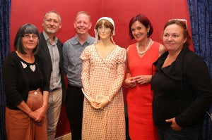 L to R. Andrea Galer, Mark Richards, David Baldock, Jane Austen and Melissa Dring