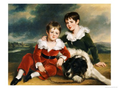 Portrait of Two Boys in Green and Red Velvet Suits by Ramsay Richard Reinagle